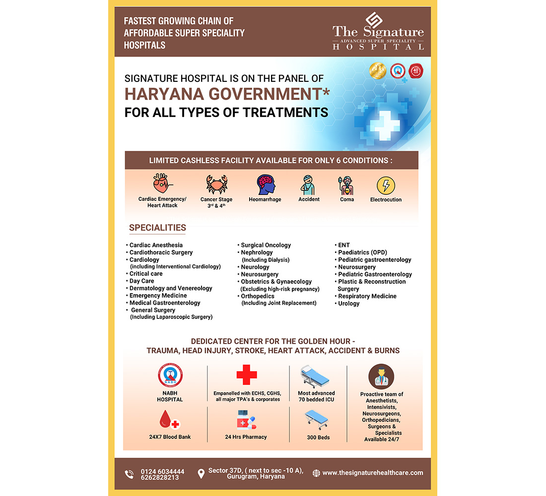 Signature Hospital is on the panel of Haryana Government